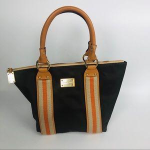 Michael Kors canvas tote brown stripe purse